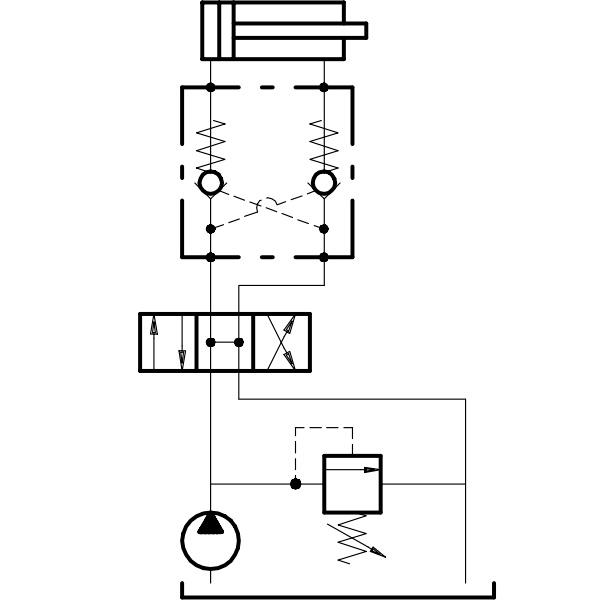 Гидрозамок двухклапанный (сдвоенный) пример установки  в гидросистеме
