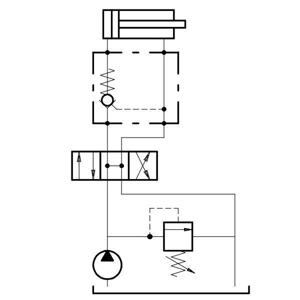 Гидрозамок одноклапанный (односторонний) пример установки в гидросистеме